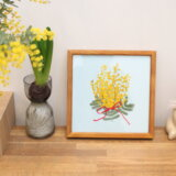 【ミモザの押し花】を額に飾って楽しもう〜作り方【ミモザドライフラワーアート・標本】